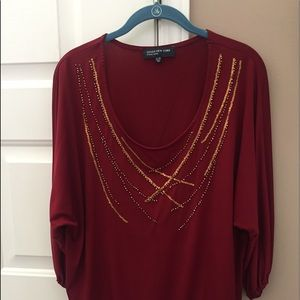 Terra cottage color  with gold accents blouse